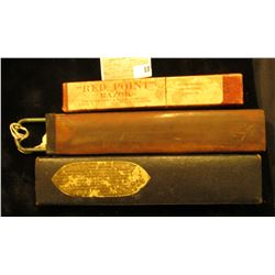 Empty Red Point Straight Razor Box and Razor Strop in a Box.