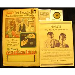 "Early 1900 brochure from F. J. Cheney & Company Toledo, Ohio ""Hall's Two-Method Treatment""; 1930 Dr."
