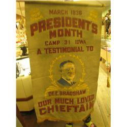 """Felt Banner with Gold tassles """"W.O.W. March 1936 W.O.W./Presidnet's/Month/Camp 31 Iowa/A Testimonial"""