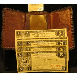 Old Depression Era embossed brown Leather Billfold Full of old Depression Scrip from 1933.