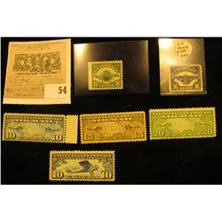 (6) early U.S. Airmail Stamps including a Scott # C5 16c Air Service Emblem Mint O.G., not hinged. C