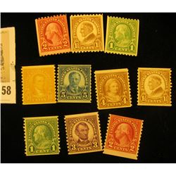 """(10) Rotary Coil Stamps 1923-29 #597/606. """"American Definitive Series"""". All Mint."""