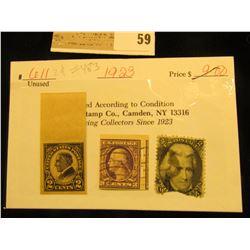 Scott#73 2c President Andrew Jackson 1863 Used; Scott #483 3c Washington straight edges, used; & Sco