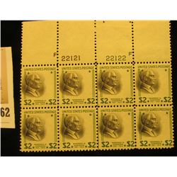 Block of eight Scott 833 Stamps, Two Dollar Harding - Mint, Never Hinged on stamp area. Almost never