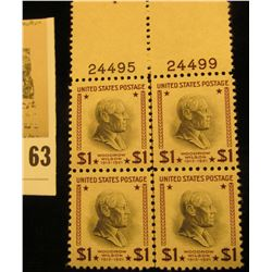 Block of Four with Plate Numbers Original Woodrow Wilson One Dollar Stamps. Seldom ever seen as a bl