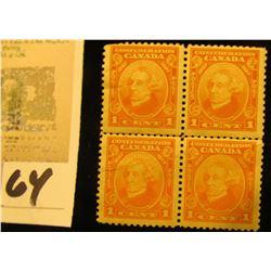1938 Plate block of Four U.S. Stamp Scott # 832, $1 Wilson, Mint, Partial Gum.