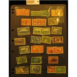 Stock page of mixed early Canada Stamps. All Cancelled. Cat. Value of approximately $100