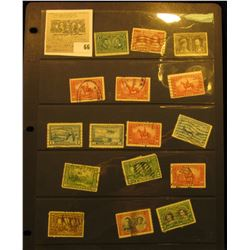 Stock page of mixed early Canada Stamps. All Cancelled except 1908 Quebec Tercentenary Commemorative