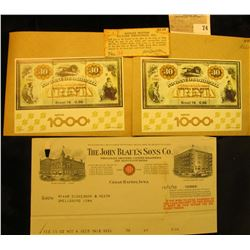 """(2) 1976 Souvenir Stamp Sheets from Brazil; & $1.75 Scrip """"Duplex Motion Pictures Industries, Inc. w"""