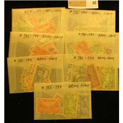 (7) Cancelled Sets Of Scott #785-794 Army-Navy U.S. Stamps.