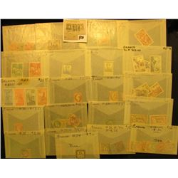 Belgium & France Group of higher value Stamps, all attributed. Doc had these valued at over $300.00.