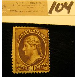 USA (Scott 209) Ten Cent Black-Brown, Perfs are present, close to r., uncancelled. Very Rare uncance
