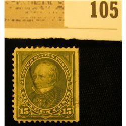 USA (Scott 259) 15c Henry Clay olive green Stamp, flat edge right, three perf edges. Please look at