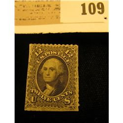 U.S.A. Scott # 69 12c President George Washington 1861 Mint No Gum, hinged. Catalog $1,800. Please l