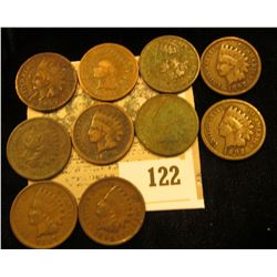 Pack of 10 different date Indian Head Cents.