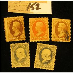 Pair of U.S.A. 1c Blue Benjamin Franklin Stamps,  Scott # 219; Scott # 178 Andrew Jackson, orange 2c