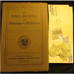 "Bulk lot including: October 1914 ""The Iowa Journal of History and Politics""; pair of ""Small Business"