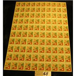 "Mint Sheet of 1930 ""Merry Christmas"" Stamps/Seals. National Tuberculosis Association. (100 stamps)"