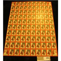 "Mint Sheet of 1938 ""Merry Christmas"" Stamps/Seals. National Tuberculosis Association. (100 stamps)"