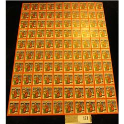 "Mint Sheet of 1932 ""Merry Christmas"" Stamps/Seals. National Tuberculosis Association. (100 stamps)"