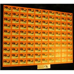 "Mint Sheet of 1933 ""Merry Christmas"" Stamps/Seals. National Tuberculosis Association. (100 stamps)"