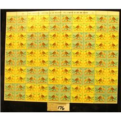 "Mint Sheet of 1968 ""Merry Christmas"" Stamps/Seals. National Tuberculosis Association. (100 stamps)"
