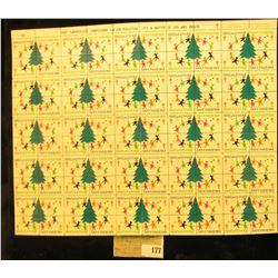 "Mint Sheet of 1969 ""Merry Christmas"" Stamps/Seals. National Tuberculosis Association. (100 stamps)"
