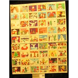 "Mint Sheet (split in two) of 1975 ""Merry Christmas"" Stamps/Seals. American Lung Association. (54 sta"