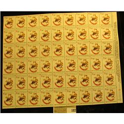 "Mint Sheet of 1981 ""Merry Christmas"" Stamps/Seals. American Lung Association. (54 stamps)"