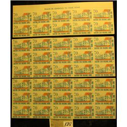 "Mint Sheet (split in two) of 1970 ""Merry Christmas"" Stamps/Seals. American Lung Association. (54 sta"