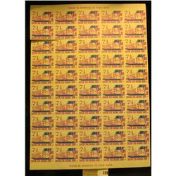 "Mint Sheet of 1971 ""Eastern Star Masonic Home Boone Iowa"" Stamps. (50 stamps)."