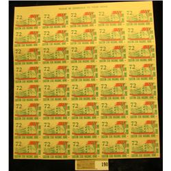"Mint Sheet of 1972 ""Eastern Star Masonic Home Boone Iowa"" Stamps. (50 stamps)."