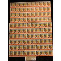 "Mint Sheet of 1945 ""Merry Christmas"" Stamps/Seals. World War II. National Tuberculosis Association."