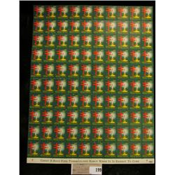 "Mint Sheet of 1952 ""Merry Christmas"" Stamps/Seals. National Tuberculosis Association. (100 stamps)"