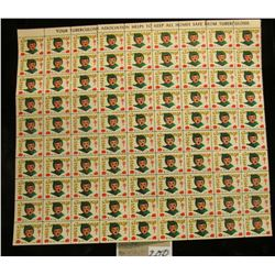 "Mint Sheet of 1953 ""Merry Christmas"" Stamps/Seals. National Tuberculosis Association. (100 stamps)"