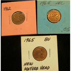 1962, 64, & 65 Brilliant Uncirculated Canada Cents.