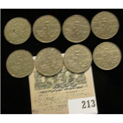 (8) King George V Nickels dating 1927, 28, 29, 30, 31, 33, 34, & 36.