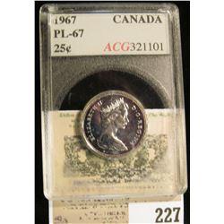 1967 Canada Silver Quarter, ACG slabbed PL-67.