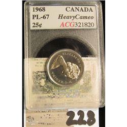 1968 Canada Quarter, ACG slabbed PL-67 heavy cameo.