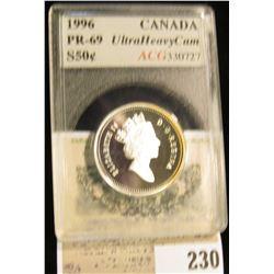 1996 Canada Half-Dollar, ACG slabbed PR-69 UHC, silver.