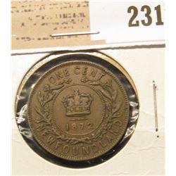 1872 Newfoundland One Cent, Fine.
