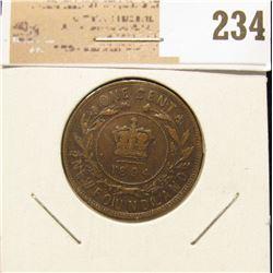 1894 Newfoundland One Cent, Very Fine.