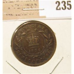 1896 Newfoundland One Cent, Very Fine.