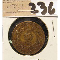 1907 Newfoundland One Cent, Very Fine.