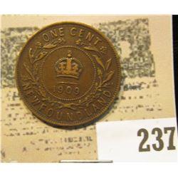 1909 Newfoundland One Cent, Very Fine.