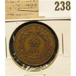 1917 Newfoundland One Cent, Fine-Very Fine.