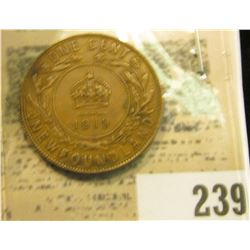 1919 Newfoundland One Cent, Very Fine.