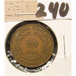 1920 Newfoundland One Cent, Very Fine.