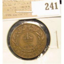 1929 Newfoundland One Cent, Very Fine.