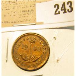 1940 Newfoundland One Cent, AU.